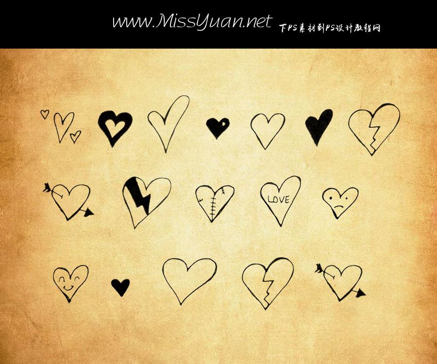 七夕节可爱的心形图案PS笔刷