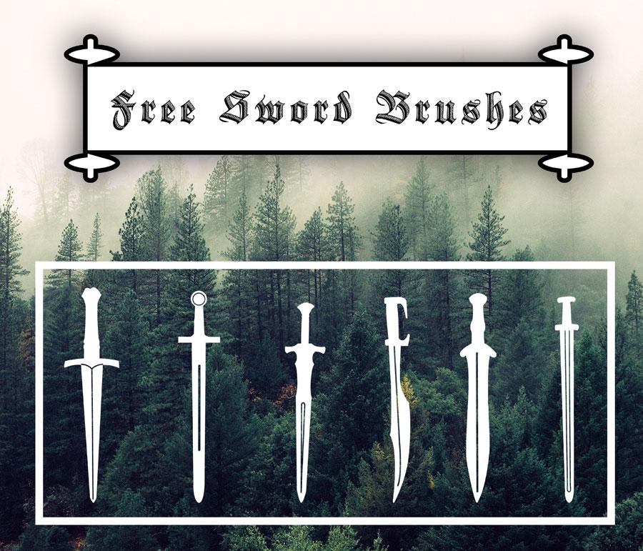 高清晰剑的形状PS笔刷