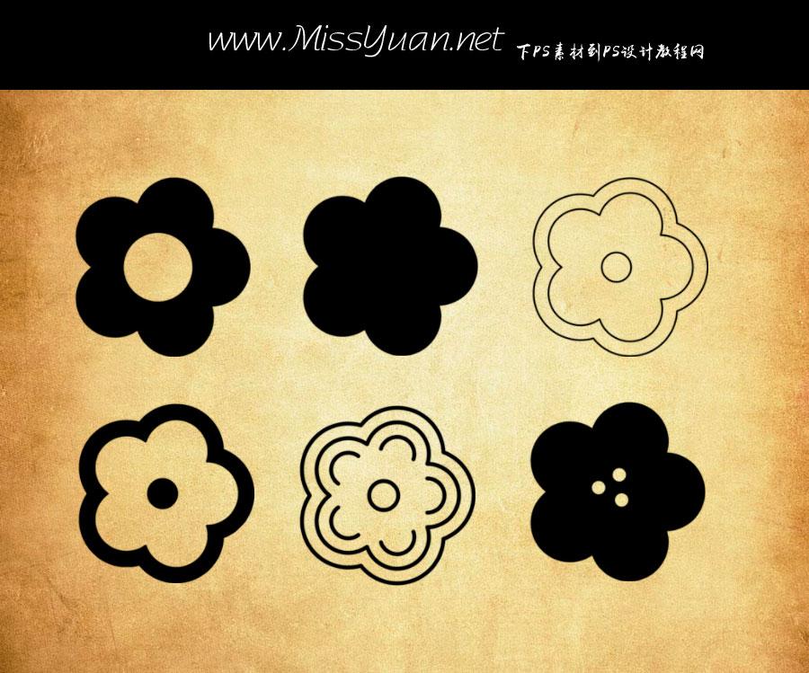 创意的矢量花朵PS笔刷