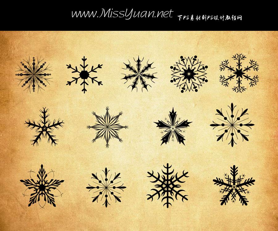 冬季雪花装饰图形PS形状