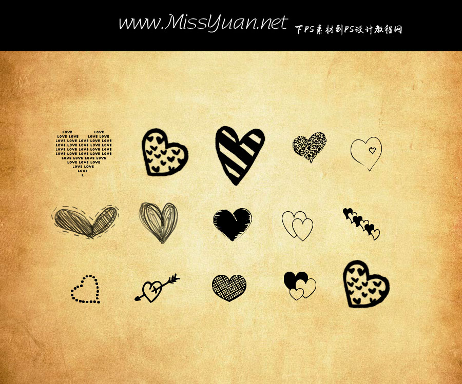 涂鸦爱心和心形笔刷