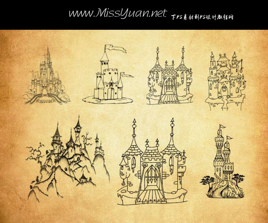 手绘建筑城堡PS笔刷
