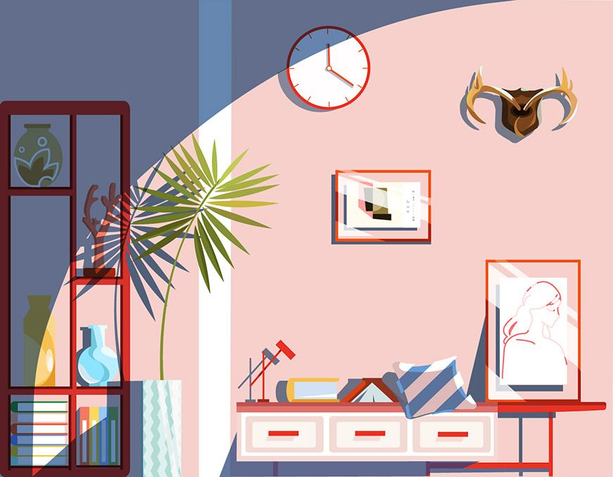 ps海报制作教程步骤_Illustrator绘制扁平化风格的室内效果图(5) - PS教程网