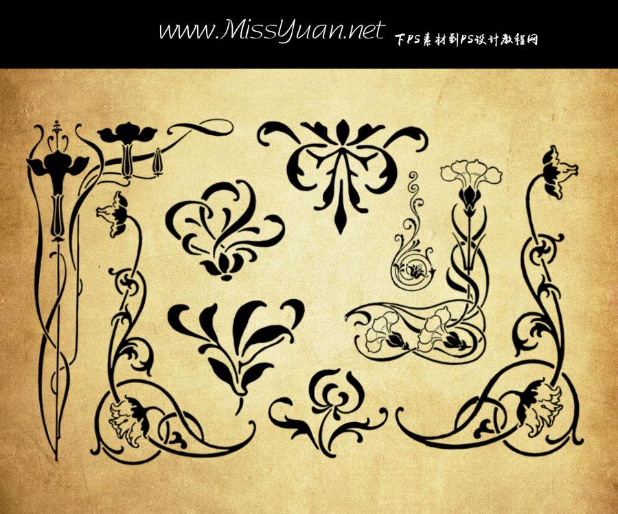 复古风格的欧式花纹花边PS笔刷