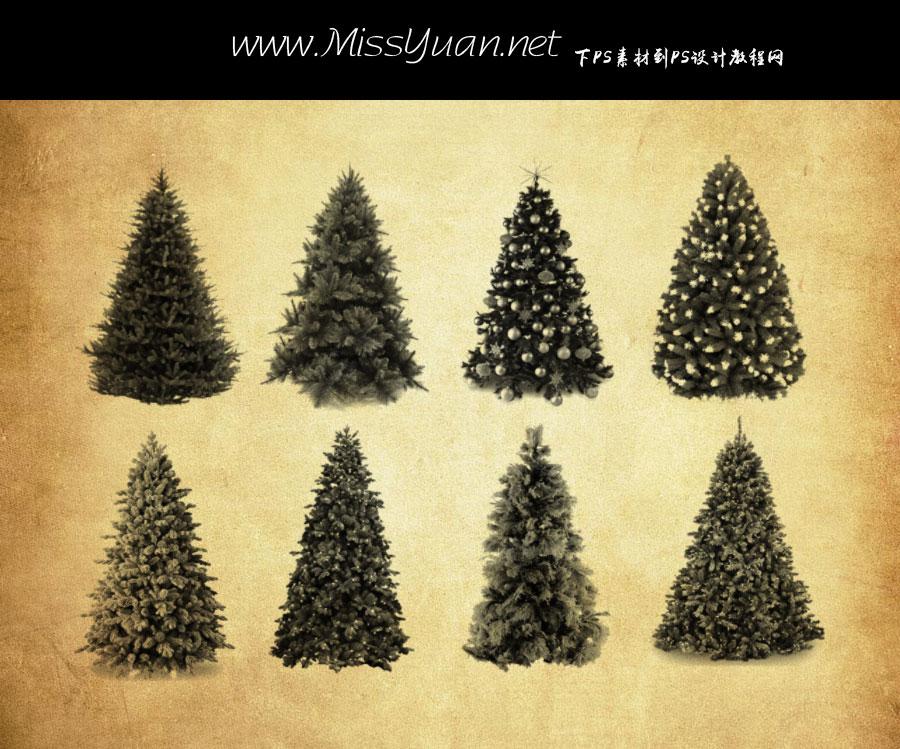 圣诞树和松树PS笔刷