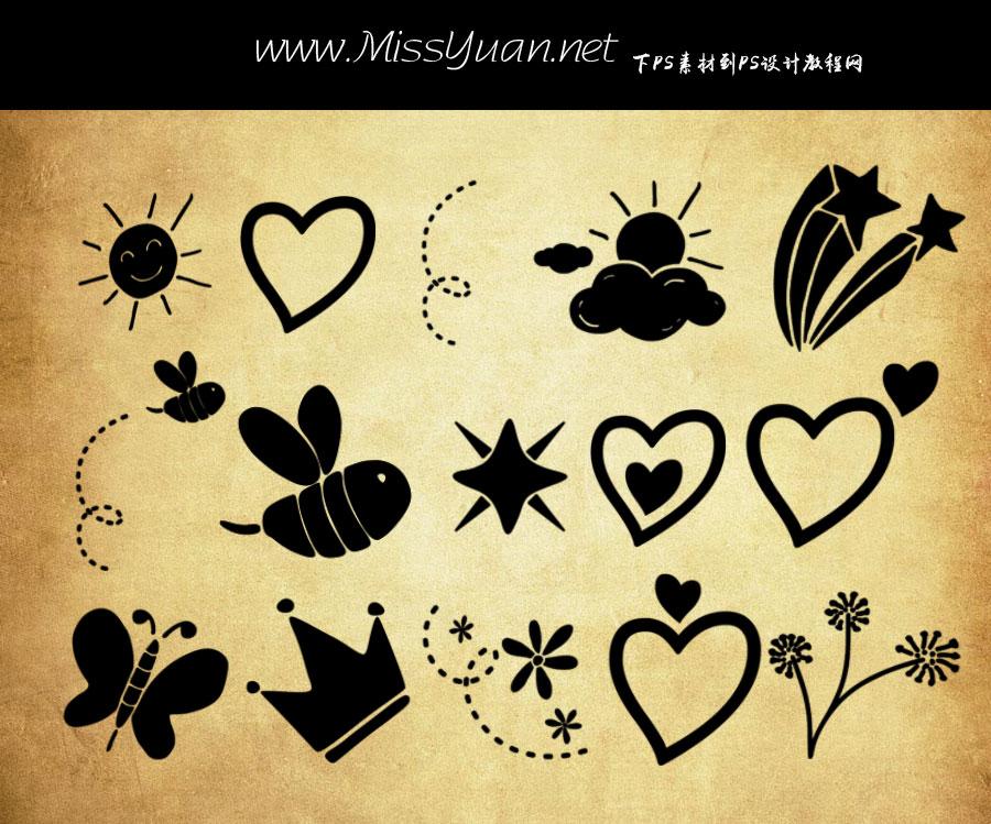 涂鸦心形和皇冠蝴蝶等PS笔刷
