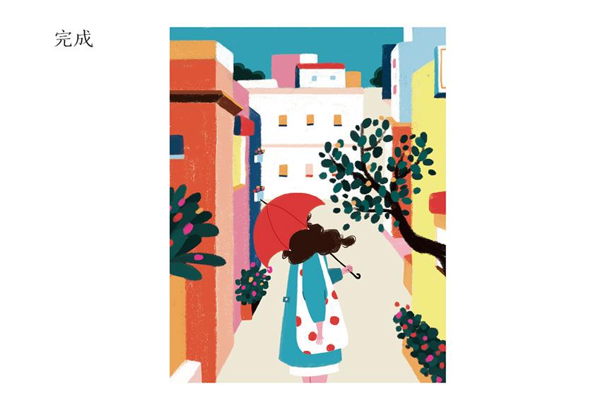 Photoshop绘制手绘风格的街头插画教程
