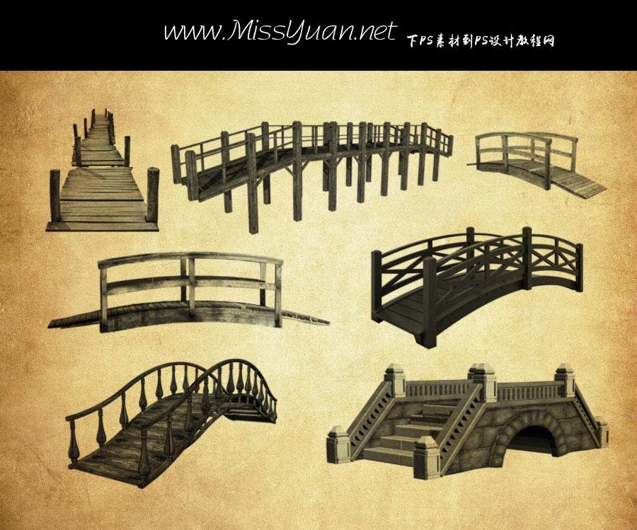 各种木桥和拱桥PS笔刷