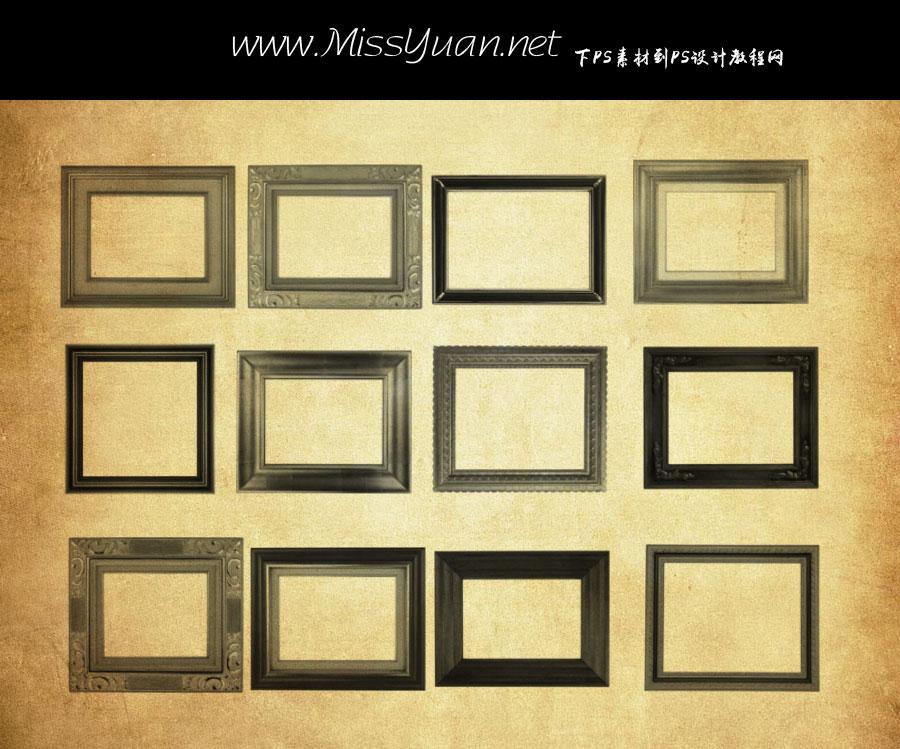 复古相框和照片相框PS笔刷