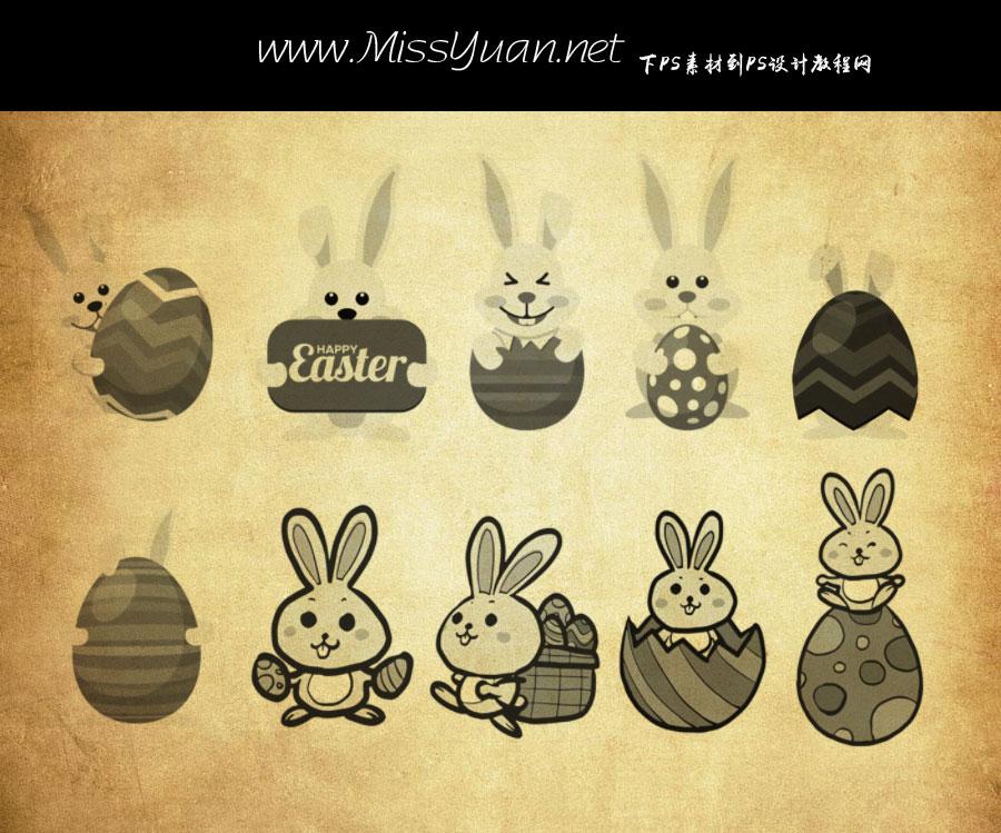 卡通兔子和彩蛋PS笔刷
