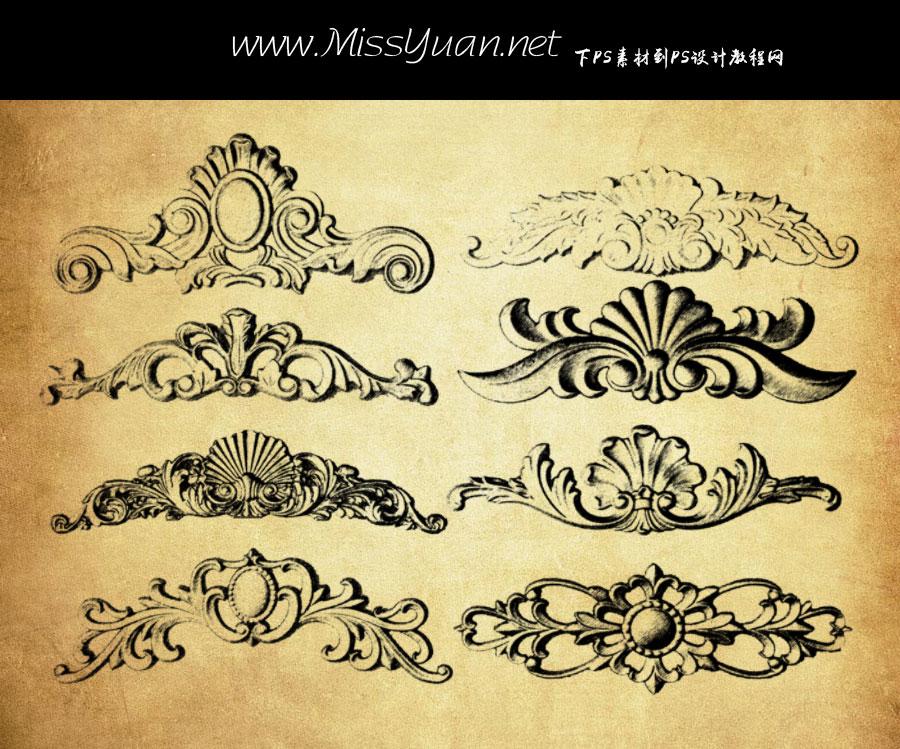 复古风格的对称花纹PS笔刷