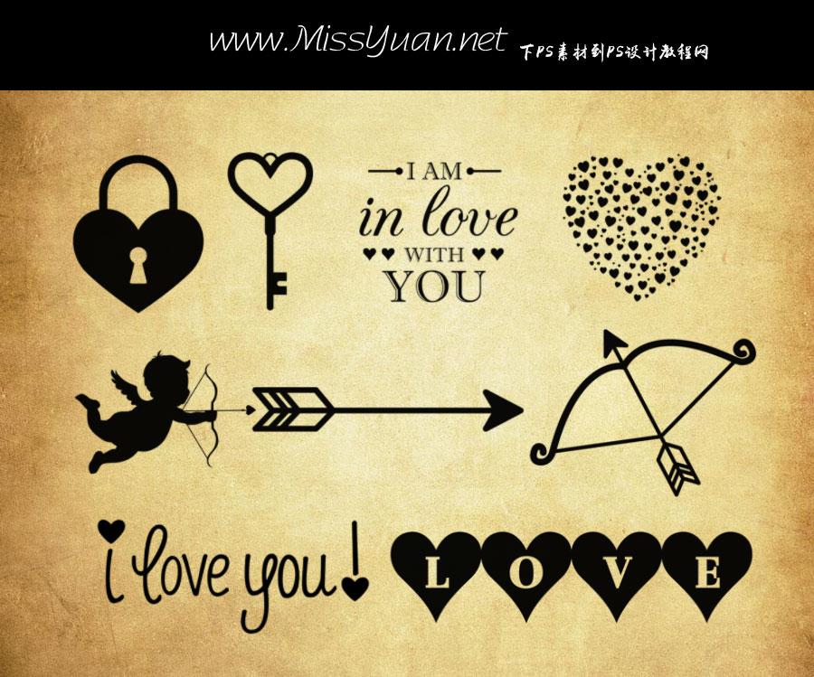 爱情主题心形和丘比特之箭PS笔刷