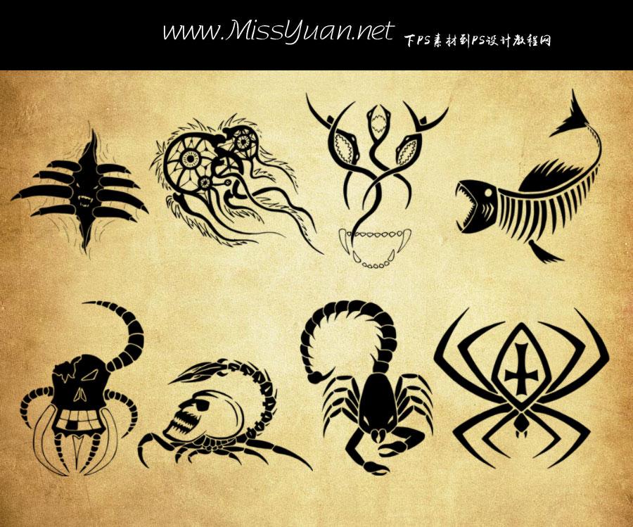 创意的动物纹身花纹PS笔刷